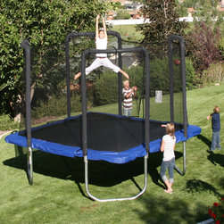 Skywalker - 13' Square Trampoline with Safety Enclosure - You jump, I jump, we all jump for Skywalker Trampolines! The 13 Elite Square Trampoline has a unique shape and an extra heavy duty frame that will provide your family with years of safe and fun entertainment. The square shape provides a very large jumping surface, while taking up a minimal amount of yard space. The extra heavy duty frame gives the trampoline extra strength and support, adding to its safety and longevity. Trampoline and enclosure features new interlocking T-bracket technology, adding strength at each frame joint. The T-bracket prevents the frame from twisting and makes assembly a snap. The stay-put safety enclosure net (pre-installed at the factory) attaches at each spring eliminating gaps between the jumping mat and net, which are typical concerns with other trampolines. The suspended enclosure netting system protects the jumper. Features: -Heavy-duty, rust-resistant galvanized steel frame. -Frame rails are 2.4 in diameter with extra thick 12 gauge galvanized steel wall thickness. -Legs pieces are 3 in diameter with 16 gauge galvanized steel wall thickness. -W-shaped legs for added stability. -Welded upright T-bracket technology eliminates frame twisting and strengthens each frame leg joint. -T-brackets are designed with a safer interlocking square shaped socket to secure the enclosure frame. -Jumping mat is made of heavy-duty, UV protected polypropylene. -Extra-wide, UV-protected, vinyl safety pads cover the frame and springs. -Safety enclosure frame interconnects to the trampoline frame T-bracket socket, securely locking the trampoline frame and enclosure frame together. -Steel frame is padded with soft foam for increased safety and durability. -Safety enclosure frame attaches away from the trampoline for added protection to the jumper. -Stay-put enclosure net attaches at each spring clip. Net attaches to the inside of the spring next to the jumping mat. -Recommended for ages 6 and above. -