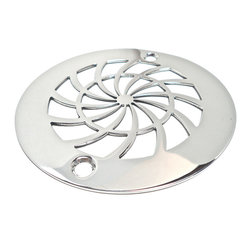 "Designer Drains - Classic Shield Shower Drain, Polished Stainless Steel - Polished stainless steel drain made to fit Oatey drain roughs. Measures 1/16"" thick x 4 3/16"" OD x 3 3/8"" center to center of the fastening holes. Includes stainless steel fasteners. Made in U.S.A."