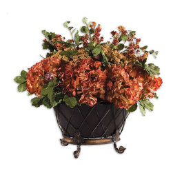 """Uttermost - English Autumn Floral Bouquet - Earthy, Fall Colors In A Full Bouquet Of Hydrangea, Yarrow, Berries, Protea And Green Foliage Arranged In A Two-part Tole Planter That Rests In A Footed, Wire Basket.; Collection: English Autumn; Designer: Constance Lael-Linyard; Material: Wire & Plastic & Polyster & Polyfoam; Finish: Earthy, Fall Colors In A Full Bouquet Of Hydrangea, Yarrow, Berries, Protea, And Green Foliage, Arranged In A Two-Part Tole Planter That Rests In A Footed, Wire Basket.; Bulb not included.; Dimensions: 25.5""""D x 27.5""""W x 21.25""""H; Uttermost's Botanicals Combine Premium Quality Materials With Unique High-style Design.; With The Advanced Product Engineering And Packaging Reinforcement, Uttermost Maintains Some Of The Lowest Damage Rates In The Industry. Each Product Is Designed, Manufacturered And Packaged With Shipping In Mind."""