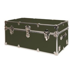 Rhino - Rhino Armor Storage Trunk in Olive Green (Cub - Choose Size: CubeTwo nickel plated steel universal wheel adapter plates mounted on the side of the trunk. Laminated armor exterior. Strong hand-crafted construction using both old world trunkmaking skills and advanced aviation rivet technology. Steel and aluminum aircraft rivets used to ensure durability. Heavy duty proprietary nickel plated steel hardware. Steel lid hinges and steel lid stay for keeping the lid propped open. Tight fitting steel tongue and groove lid to base closure to keep out moisture, dirt, insects and odors. Stylish lockable nickel plated steel trunk lock. Loop for attaching a padlock. Genuine leather handles. American craftsmanship. Self-sticking adhesive on the back of the name plate. Upper or lower case lettering. Lettering is in black. The name plate can take 24 characters per line. The max number of lines is 2. Warranty: Lifetime warranty includes free non-cosmetic repairs for the life of the trunk. Made from smooth 0.38 in. premium grade baltic birch hardwood plywood. No paper or plastic lining anywhere avoiding peeling or tearing. Name plate made from plastic. No assembly required. Cube: 20 in. W x 18 in. D x 18 in. H (22 lbs.). Large: 32 in. W x 18 in. D x 14 in. H (27 lbs.). Extra Large: 34 in. W x 20 in. D x 15 in. H (32 lbs.). Extra Extra Large: 36 in. W x 18 in. D x 18 in. H (36 lbs.). Jumbo: 40 in. W x 22 in. D x 20 in. H (52 lbs.). Super Jumbo: 44 in. W x 24 in. D x 22 in. H (69 lbs.). Name Plate: 3 in. L x 1 in. H (0.5 lbs.)The hand-crafted American Made Rhino Armor Cube is constructed from the highest quality components. Rhino Armor is an exterior 1000d Cordura Nylon textured sheathing that's highly resistant to water penetration, denting and scratching. The Rhino Armor Cube is conveniently sized and ruggedly built. In fact, its strong enough to stand on ! The Rhino Armor Cube is easily stowed and can be securely locked to insure the safety of personal items. The Rhino Armor Cordura sheathing ensures that Rhino Armor Cubes have the most durable exterior available in the trunk industry. Rhinos brushed bright metal finish name plates are a great addition to any Rhino Trunk. Most people put their full name on, but its your choice. You can have your name on one or two lines. You can place the name plate anywhere you like on the Rhino Trunk.
