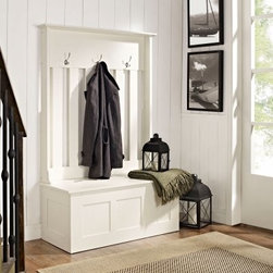 Crosley Ogden Entryway Hall Tree - White - Take your mudroom from messy to an organized and stylish transitional space with the Crosley Ogden Entryway Hall Tree - White. This multifunctional piece has a clean, white finish, hardwood solid construction, and durable metal hardware. Modern but classic, it includes thoughtful features such as bench seating and storage and coat hooks to keep everyone's belongings in check.About Crosley FurnitureIn 1920 Powel Crosley founded the company that pioneered radio broadcasting and mass market manufacturing around the world, starting with a simple radio, meticulously crafted with obsessive detail and accuracy, and a measure of consideration for the wallet. These high ideals have served the company well for over 90 years, and they live on in the newest addition to the family. Crosley Furniture sets a new standard for innovation, function, and meticulous craftsmanship in the manufacture of value-priced furniture. They proudly offer durable furniture products featuring hardwood and veneer construction with rich multi-step finishes in a multitude of styles.