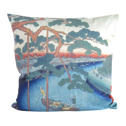 Poetic Pillow - Utagawa Hiroshige Five Pines Pillow - Transform any space with a pillow from Poetic Pillow. Each pillow is inspired by fine works of art and printed on the front and back.   Covers are made of pre-shrunk satin-like polyester fabric. All seams are finished to prevent fraying and pillow covers have a knife edge finish.. A concealed zipper allows for ease of inputting pillow inserts.  A duck feather insert is included for soft yet supportive feel.  Cushion inserts are encased in a cotton cover and filled with 100% duck feather.  All research, design and packaging is completed in Oakland, California.