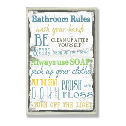 Stupell Industries - Bathroom Typography Rect Wall Plaque - Made in USA. Ready for Hanging. Hand Finished and Original Artwork. No Assembly Required. 15 in L x 0.5 in W x 10 in H (2 lbs.)Point your guests in the right direction with elegant bathroom plaque. This decorative wall plaque is crafted of sturdy fiberboard with hand-finished coved borders, each plaque comes with a sawtooth hanger for easy installation on bathroom doors or walls.