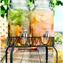 Home Essentials - Twin Ice Cold Mason Jar Drink Dispenser - At the beach or on the front porch, our mason jar inspired collection continued the American tradition of casual and stylish entertaining! This 2 gallon glass drink dispenser is a party workhouse that frees you up from your bartering duties so you can invite friends over for a relaxing afternoon outside on the patio. Crafted of high quality, durable glass and fashioned into the shape of a mason jar. This beverage dispenser is an established and classy way to serve refreshing drinks and cocktails. The stand elevates jars for an attractive presentation and easy dispensing indoors and out.             * Capacity: 1 gallon each