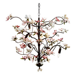 Racine Chandelier - Large - A three-foot spread of perfectly natural dark branches comes to innocent, lovely life with a profusion of pinks � cherry blossoms created from faceted crystals to lustrously catch the light of six candelabra bulbs.  A chandelier that brings a hint of wonder to a transitional room and offers graceful delight in Asian-themed spaces or any other d�cor, the Racine is beautifully hand-painted and composed with just enough symmetry to look balanced.