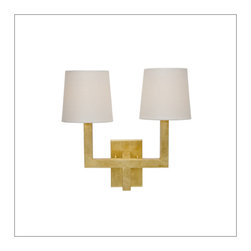Worlds Away Kennedy 2 arm wall Sconce, Gold Leaf - Worlds Away Kennedy Gold Leafed 2 arm Sconce