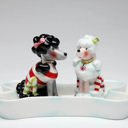 """ATD - 3.75"""" Holiday Theme Poodles Salt and Pepper Shakers in Bone Plate Set - This gorgeous 3.75"""" Holiday Theme Poodles Salt and Pepper Shakers in Bone Plate Set has the finest details and highest quality you will find anywhere! 3.75"""" Holiday Theme Poodles Salt and Pepper Shakers in Bone Plate Set is truly remarkable."""