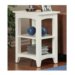 Alaterre Furniture - Shaker Cottage 2 Shelf End Table - 2 Shelves. Made of composite wood. Assembly required. 1-Year warranty. 20 in. W x 15 in. D x 27 in. HPractical Cottage Style End table with 2 shelves. Easy to assemble. A nice accent in a Lifestyle setting.