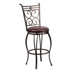 Flash Furniture - Flash Furniture 29 Inch Brown Metal Bar Stool with Brown Leather Swivel Seat - This gracefully styled stool will add an elegant finish to your kitchen, dining room or bar area. The curvaceous frame and attractive powder coated finish will complement any decor. The plush padded seat looks and feels great. A full 360 degree swivel and footrest ring provides comfort and ease. [BS-6204-29-BN-GG]