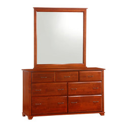 Night & Day Furniture - Night and Day Juniper 7-Drawer Dresser - The Juniper 7-Drawer dresser, with optional mirror, is the king of our dresser group. Tall and handsome, with tons of good storage. The Juniper Cases are built strong, solid and handsome. Very cool with their beautiful beveled drawer faces and squared trim.
