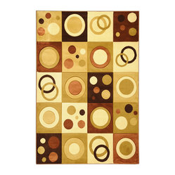 Ottomanson - Brown Contemporary Abstract Design Rug - Moderno Collection offers a wide variety of machine made modern design hand-carved area rugs with high, durable, stain-resistant pile in trendy colors.