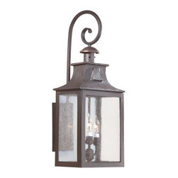 """Troy - Newton Collection 26 3/4"""" High Outdoor Wall Light - This handsome outdoor lighting collection features classic carriage house detailing and style accents. Lantern and top scroll arm are in hand forged iron with an old bronze finish. Clear seeded glass panels add to the visual appeal. Wall mount style outdoor light. Takes three 60 watt candelabra bulbs (not included). 26 3/4"""" high. 11"""" wide. Extends 9 3/4"""" from the wall. Backplate measures 7-1/2""""H x 4-3/4""""W.  Old bronze finish.  Takes three 60 watt candelabra bulbs (not included).  26 3/4"""" high.  11"""" wide.   Extends 9 3/4"""" from the wall."""