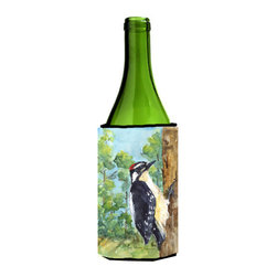 Caroline's Treasures - Bird - Downy Woodpecker Wine Bottle Koozie Hugger - Bird - Downy Woodpecker Wine Bottle Koozie Hugger Fits 750 ml. wine or other beverage bottles. Fits 24 oz. cans or pint bottles. Great collapsible koozie for large cans of beer, Energy Drinks or large Iced Tea beverages. Great to keep track of your beverage and add a bit of flair to a gathering. Wash the hugger in your washing machine. Design will not come off.