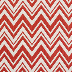 Red and White Chevron Zig-Zag Upholstery Fabric By The Yard - This upholstery fabric is great for all indoor upholstery, bedding, window treatments and fabric related projects. This material combines luxury with durability. It will truly look great on any piece of furniture.