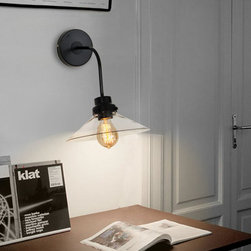 LOFT Clear Glass Shade Iron Wall Sconce -