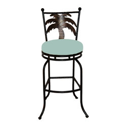 "Surf Side Patio - Tahiti Swivel Bar stool , Spa, 30"" Bar Height - Accent your breakfast bar, home bar, tiki bar or patio with the hand crafted, wrought iron Tahiti Swivel Bar stool with a beautiful Palm Tree gracing the back of the chair.  Made from thick guage, powder coated wrought iron, these gorgeous bar stools swivel 360 degrees and bring a tropical touch to any area of your home, outdoor or indoor."