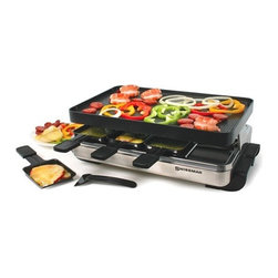 Swissmar - 8 Person Stelvio Raclette Party Grill - Everyone can be the chef at meal time. Entertaining will be relaxing while everyone grills their own food in traditional Swiss tradition and dates back hundreds of years when shepherds tended their herds in the mountains. Supplies were limited and meals consisted of cheese melted by the fire then drizzled onto potatoes and pickles. From these modest beginnings the modern custom of raclette grilling was born, and can now be enjoyed at home with this tabletop raclette grill. It is ideal for grilling succulent meats and veggies, while melting scrumptious cheese in the dishes under the grill plate. The reverse side of the grill top is just right for grilling sandwiches, eggs, bacon, pancakes and crepes. Features: -Material: Stainless Steel.-8 heat-resistant spatulas and raclette dishes.-Non-stick reversible grill / crepe top.-Perfect for grilling sandwiches, eggs, bacon, pancakes, and dessert crepes.-Hand wash recommended.-Distressed: No.-Finish: Stainless Steel.-Powder Coated Finish: No.-Material: Metal -Material Details: Stainless Steel, Cast Aluminum..-Hardware Material: Plastic Handles.-Number of Items Included: 18.-Pieces Included: 1 Base, 1 Grill Top, 8 Dishes, 8 Spatulas.-Product Type: Raclette.-Water Resistant: No.-Scratch Resistant: No.-Heat Resistant: Yes.-Rust Resistant: Yes.-Chip Resistant: Yes.-Tarnish Resistant: Yes.-Stain Resistant: Yes.-Non-Stick Surface : Yes.-Dishwasher Safe: Yes.-Oven Safe: No.-Freezer Safe: No.-Power Source: Electricity.-Wattage: 1200 W.-Voltage: 120 V.-Hertz: 60 Hz.-Indicator Light: No.-Recipes Included: Yes.-Cord Storage: No.-People Served: 8.-Timer: No.-Tabletop: Yes.-Warming Tray: No.-Outdoor Use: Yes.-Child Safe: Yes.-Removable Surface: Yes.-Interchangeable Surface: Yes.-Sloped Surface: No.-Includes Drip Tray: No.-Includes Scraper: No.-Temperature Control: Yes.-Removable Temperature Probe: No.-Automatic Shut-Off: No.-Cover: No.-Handles: Yes -Number of Handles: 2.-Handle Material