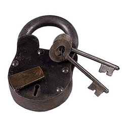 "ecWorld - Vintage Antique Iron 5"" High Lock Padlock with Keys Reproduction - Reproduction of Vintage Antique Old-Style Iron Lock Padlock with 2 Keys - 5"" High - New - Imported - Handcrafted"