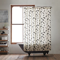 Bird Collage Shower Curtain - Birds of a feather add vintage style together. The playful avian motif on this cotton shower curtain incorporates floral patterns discovered in old print books, adding textural dimension as well as a retro feel to the bath.