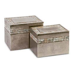 iMax - Hallowell Aluminum Mother of Pearl Boxes, Set of 2 - This champagne toned set of aluminum boxes feature elegant mother of pearl details that are the perfect combination of milky shell and metallic metal for any vanity or bedside table.