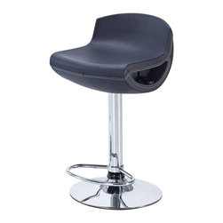 Global Furniture USA - M207BS Black Leatherette & Chrome Adjustable Bar Stool Set of Two - The M207BS bar stool is comfortable as well as stylish with it's modern design. This stool is comes upholstered in a stunning black leatherette material. A unique cutout on the side of the seat hides the lever for height adjustment. The stool is height adjustable with a built-in hydraulic mechanism. The base features a foot rest and is crafted of metal with a chrome finish. The price shown includes two stools only.