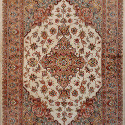 """ALRUG - Handmade Ivory Persian Silk Isfahan Rug 4' 1"""" x 6' 1"""" (ft) - This Pakistani Isfahan design rug is hand-knotted with Silk on Cotton."""
