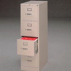 """HON - 510 Series Four-Drawer Letter Vertical File Cabinet w/ Free Box of File Folders - 510 Series Four-Drawer Letter Vertical File Each filing unit is equipped with """"one key"""" interchangeable core-removal locks and is treated with rust prohibiting phosphates to guarantee the longevity of the commercial appearance. Specifically for letter-sized documents. Features: -Spring-loaded follower blocks to keep files upright. -High drawer sides for hanging folders. -Heavy-gauge steel. -Ten nylon rollers per drawer. -Covered by the HON Limited Lifetime Warranty. -Overall Dimensions:15"""" W x 25"""" D x 52"""" H."""