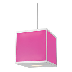 Hart Lighting - Chameleon Square Color Changing LED Pendant - Chameleon Square Color Changing LED Pendant is available in a Satin Nickel finish.  Chameleon Color Changing LED Pendant features 13 fixable colors or a standard cycle.  Color locking switch is located on top of the fixture. Includes a 4, 8, 12 and 24 inch for flexible mounting heights. Suitable for sloped ceiling applications. Available in a small or large.  Two 6.5 / 14.5 watt, 120 volt LED lamps are included.  Small: 9 inch width x 9 inch height.  Large: 18 inch width x 18 inch height.
