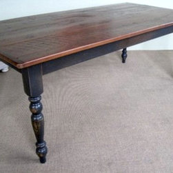 Very Rustic Farm Table With Antique Walnut Finish - Made by www.ecustomfinishes.com
