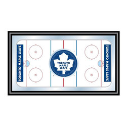 Trademark Global - Framed Hockey Rink Mirror w NHL Toronto Maple - Few NHL franchises can compare with the legendary Toronto Maple Leafs. This wood-framed wall mirror honors that tradition. Classic blue and white team colors and iconic, officially licensed logo let everyone know who's number one. Also has authentic hockey rink markings. Great for gifts and recreation decor. Mirror with print. Black wrapped wood frames. 26 in. W x 15 in. H (10 lbs.)This National Hockey League Officially Licensed Hockey Rink Wall Mirror is the perfect gift for the Hockey Fan in your life.