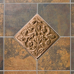 Solid Copper Wall Tile with Vines & Flower Design - Add style and character to your kitchen with this handcrafted copper wall tile. It features a beautiful design of graceful vines and flowers.
