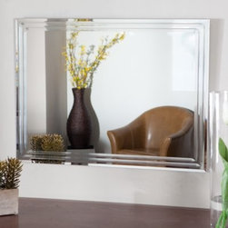 Frameless Tri Bevel Wall Mirror - 23.5W x 31.5H in. - The Frameless Tri Bevel Wall Mirror brings contemporary sophistication to your home. This stunning rectangular mirror is sure to add elegance to any wall in your home. Constructed of metal and strong 3/16 glass it features V-grooved cut designs around the border that add beauty to the mirror. Mounting hardware is included with the mirror. Weighs 14 pounds. Dimensions: 31.5L x 23.5W x .5D inches.