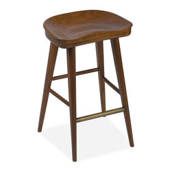 Brownstone/Brownstone - Balboa Stool, Hazelnut, Bar - The Balboa stools, made of solid teak, are Brownstone's interpretation of modern craftsman. Stocked in both counter and bar heights. Available in three finishes: hazelnut, midnight, and driftwood.