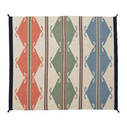 Geometric Area Rug Hand Woven 8X10 100% Wool Flat Weave Navajo Style Rug SH11209 - Soumaks & Kilims are prominent Flat Woven Rugs.  Flat Woven Rugs are made by weaving wool onto a foundation of cotton warps on the loom.  The unique trait about these thin rugs is that they're reversible.  Pillows and Blankets can be made from Soumas & Kilims.