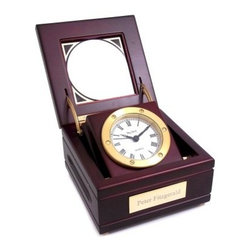Bey-Berk Personalized Mahogany Clock Box with Glass Top - Simply classic, the Mahogany Clock Box with Glass Top with Optional Personalization offers a distinct take on the time. A beauteous quartz clock with Roman numerals and a solid brass tarnish-proof case rests within the solid, gorgeous mahogany wood box. The glass-top lid provides a perfect glimpse of the clock. Add a unique touch to your clock box with a personalized plate (optional).