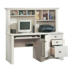 Sauder - Harbor View Computer Desk w Hutch in Antique - Includes hutch. Includes desk with slide-out keyboard and mouse shelf has metal runners and safety stops and hutch with cubbyhole storage and vertical storage compartments. Storage area behind louver detailed desk door that holds a vertical CPU tower. 3 Drawers features patented T-lock assembly system (lower drawer with full extension slides that hold letter, legal or European size hanging files). EverSheen� top-coat provides clear, durable finish that resists heat, stains and scratches. Detailing includes bead board back panel. Patented slide-on moldings. Made of engineered wood. Assembly required. CPU storage dimensions: 10.75 in. W x 22.5 in. D x 23.375 in. H. Product Dimensions: 62.25 in. W x 23.5 in. D x 57.375 in. H