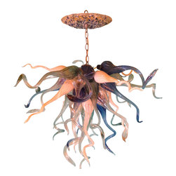 Primo Glass - Hand Blown Glass Chandelier - Lighting - Art Glass Lighting - Cobalt Teal White - Beautiful one of a kind hand blown glass chandelier made in the USA by Primo Glass. This piece is in our showroom and ready to ship…The lighting source consist of 1 standard medium base 100 watt light socket in the center of the chandelier. Chandelier will be shipped with a 60 watt dimmable LED light bulb that will last for 20,000 hours or longer. All electrical components are UL listed.  It also comes with a custom made matching glass ceiling medallion. The glass chandelier itself measure aprox 30 inches wide and 24 inches tall, and also includes an additional 12 inches of adjustable chain. Primo Glass chandeliers are high quality collectible works of functional art, signed by the artists, and come with a certificate of authenticity.