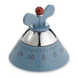 Alessi - Alessi Michael Graves Kitchen Timer in Blue - This quaint timer is convenient enough to have around on a shelf or counter for use in a moment's notice. A pyramid shape with a 'wing nut' style winder makes for easy setting for up to 60 minutes.