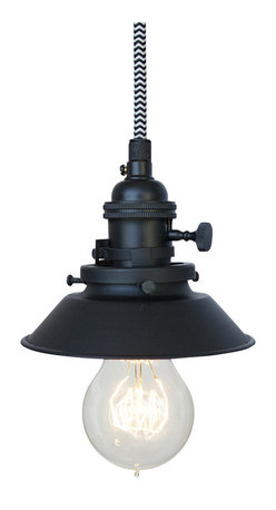 """Hammers & Heels - Farmhouse 4 & 3/4"""" Cone Shade Pendant Light- Chevron Cloth Cord - The Farmhouse Collection is petite with a punch of style these metal cone shade pendant lights add a vintage feel to any space."""