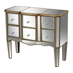 Sterling Industries - Antwerp Chest in Gold - 6 functional drawers create useful storage. Hand cut mirrored panels reflect light. A soft gold finish and nostalgic scalloping and design that serves a functional purpose.