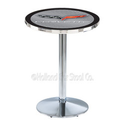 Holland Bar Stool - Holland Bar Stool L214 - Chrome Corvette - C6 Silver Pub Table W/ Black Accent - L214 - Chrome Corvette - C6 Silver Pub Table W/ Black Accent  belongs to General Motors Collection by Holland Bar Stool Made for the ultimate Corvette - C6 enthusiast, impress your buddies with this knockout from Holland Bar Stool. This L214 Corvette - C6 table with round base provides a commercial quality piece to for your Man Cave. You can't find a higher quality logo table on the market. The plating grade steel used to build the frame ensures it will withstand the abuse of the rowdiest of friends for years to come. The structure is triple chrome plated to ensure a rich, sleek, long lasting finish. If you're finishing your bar or game room, do it right with a table from Holland Bar Stool.  Pub Table (1)