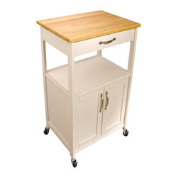 Catskill Craftsmen - Catskill Craftsmen Butcher Block Kitchen Cart-White - Catskill Craftsmen - Kitchen Carts - 80690 - Add convenience and warmth to your kitchen with the Catskill Craftsmen Kitchen Trolley. The wheel casters provide great mobility and make this an easy addition to your kitchen. So prepare a gourmet meal with the Kitchen Trolley.