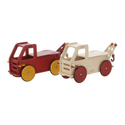 """Haba - Haba Moover Baby Truck Riding Push Toy - 1008028 - Shop for Tricycles and Riding Toys from Hayneedle.com! With the Haba Moover Baby Truck Riding Push Toy you won't have to stop children from climbing on board. It's sturdily made of wood to hold their weight. Young children get a fun and strengthening motor coordination challenge as they scoot across the floor! HABA also knows it's more fun if a special doll or teddy can ride along so the cab is scaled for carrying special passengers. Towing and hauling capacity are definitely high on any kids' list of desired features so there's a working crane and a roomy cargo compartment in the back. Toys that can be taken apart are always cooler than ones that can't so this truck assembles and dissembles easily with HABA's unique tool-free """"click key"""" system. You'll be able to take it apart so it can travel with you!About HABAIn 1938 HABA began manufacturing finely polished wooden toys in Germany. Today these blocks and toys are still an important part of the HABA product line but the company has expanded to produce a wider variety of inventive playthings for inquisitive minds. From games and jewelry to tableware and rugs HABA products are known for innovative design and attention to detail. HABA toys support children's development and foster the spirit of discovery. HABA products undergo rigorous testing under European guidelines. They've won numerous Children's Game of the Year awards and look to continue their legacy of innovative exciting design for kids around the globe."""