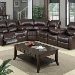 Modern Brown Leather Reclining Sectional Sofa Recliner Drop Down Table - Features