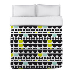 OneBellaCasa - Black & White Dani Lightweight Duvet Cover - Touch up your bed with this colorful cover that features plush comfort, vibrant color and hypoallergenic fabric.   Polyester Machine wash Made in the USA