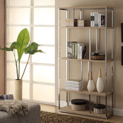 None - 72-inch High Natural Reclaimed-Look Chrome Metal Bookcase - Spruce up your home decor with the sleek modern style of this spacious bookcase. Featuring a natural reclaimed-look finish and chrome metal hardware, this bookcase provides ample room to store and display your things with style.