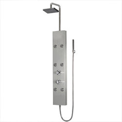 "Ariel - Ariel 301 Shower Panel - Enjoy the pleasures of an Ariel Shower Panel in your home. These units are fully loaded with body massage jets, handheld shower, and rainfall ceiling shower which are all designed to greatly increase your therapeutic experience. We are confident that you will indulge in a state of complete relaxation and tranquility with all of these features within these shower panel enclosures. Look below for the features and detailed specifications of this shower panel.  A301    Dimensions: 8.67"" x 63.78""  Rainfall Ceiling Shower  6 Body Massage Jets  Handheld Showerhead  Finish- Stainless Steel  Thermostastic faucet  UPC Approved"