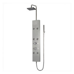 """Ariel - Ariel 301 Shower Panel - Enjoy the pleasures of an Ariel Shower Panel in your home. These units are fully loaded with body massage jets, handheld shower, and rainfall ceiling shower which are all designed to greatly increase your therapeutic experience. We are confident that you will indulge in a state of complete relaxation and tranquility with all of these features within these shower panel enclosures. Look below for the features and detailed specifications of this shower panel.  A301    Dimensions: 8.67"""" x 63.78""""  Rainfall Ceiling Shower  6 Body Massage Jets  Handheld Showerhead  Finish- Stainless Steel  Thermostastic faucet  UPC Approved"""