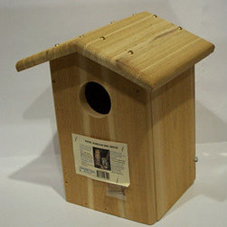 Songbird Essentials - Screech Owl House - Screech Owl House. To attract screech owls you must provide the proper sized nesting cavity and a 3 in entry hole. This gable roof design with proper drainage holes and a side clean-out is just what you need. Mount 10-20 feet above the ground.