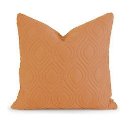 """IMAX - IK Kavita Orange Linen Quilted Pillow w/ Down Fill - Iffat Khan has developed a luxurious collection of down pillows with quilted details and top ofeethe line fabrics. Iffates refined aesthetic is evident in her collection which combines clean modern, classic casual and timeless traditional styles with her own creative twist. Item Dimensions: (22""""h x 22""""w x 5"""")"""